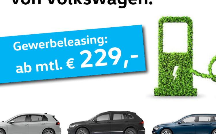 Die Hybrid Modelle von VW – Ab 229,- EUR mtl. Gewerbeleasing